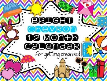 {FREEBIE} BRIGHT Chevron 12 Calendar