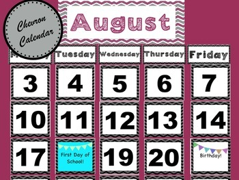 Chevron Calendar Set: Complete with numbers and special da