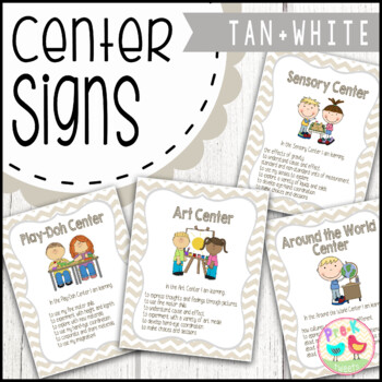 Center Signs - Tan and White Chevron