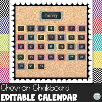 Chevron Chalkboard Classroom Calendar Set 9 Colors Blue Gr