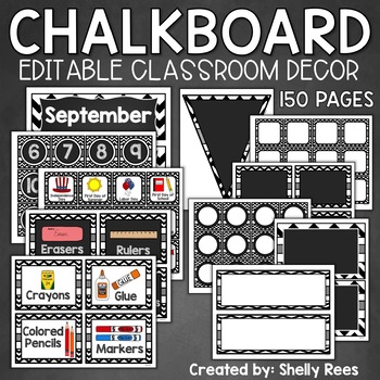 Classroom Decor - Chevron and Chalkboard with EDITABLE Templates!