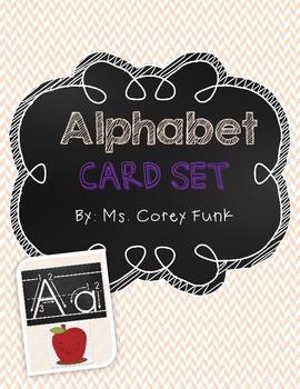 Chevron Chalkboard Inspired Alphabet Card Set Primary Arrow font