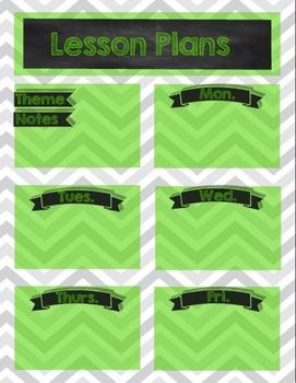 Chevron Chalkboard Preschool Lesson Plan Sheets