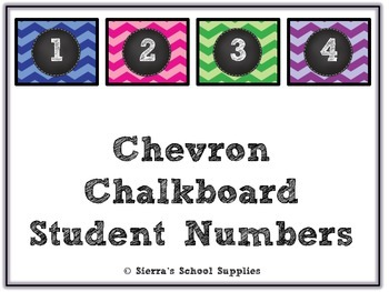 Chevron Chalkboard Student Numbers Large