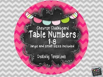 Chevron Chalkboard Table Numbers