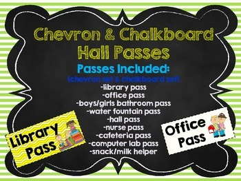 Chevron & Chalkboard Theme Hall Passes Back to School