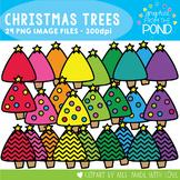 Christmas Trees -  Chevron and Plain - Clipart for Teachin
