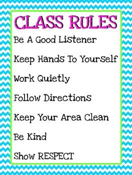 Chevron Class Rules Poster