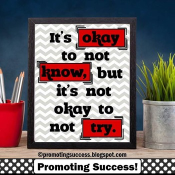 It's Okay to Not Know Quote Poster for Kids Red and Gray C