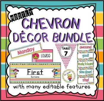 Chevron Classroom Decor Bundle {with many editable features}