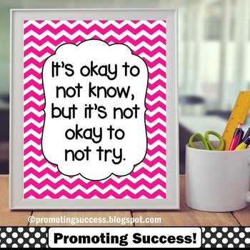 Classroom Decor Okay to Not Know Pink Chevron Quote Poster