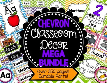 Chevron Classroom Decor Mega Bundle (Editable Parts)