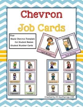 Chevron Classroom Job Cards Classroom Helpers