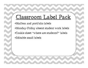 Chevron Classroom Label Pack