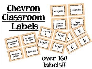Chevron Classroom Labels-Orange