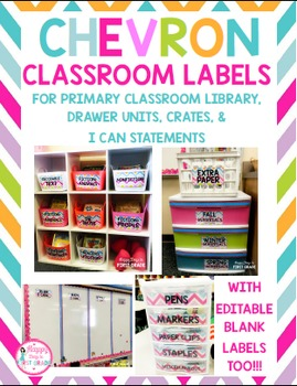 Chevron Classroom Labels ( for Primary Library, Mini Drawe