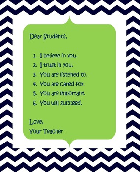Chevron Classroom Letter to your Students