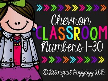 Chevron Classroom Numbers 1-30