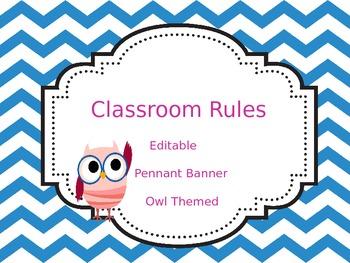 Classroom Rules (Pennant Banner) Chevron, Editable & Owl Themed