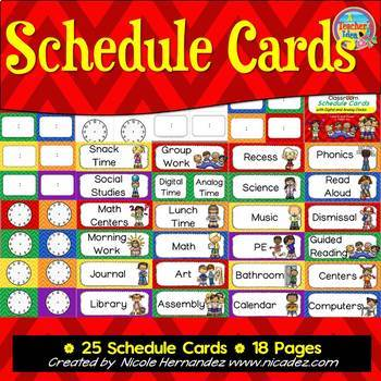 Daily Schedule - Chevron Themed Cards