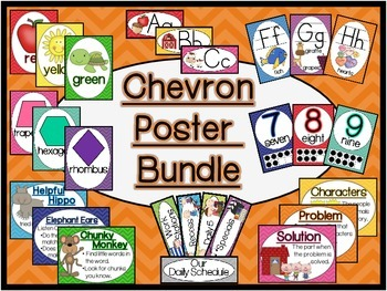 Chevron Classroom Sign and Poster Bundle (Modern Manuscript)