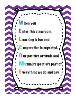 Chevron Classroom Welcome Sign Bright Colors