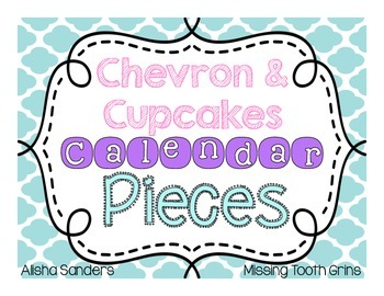 Chevron & Cupcakes Calendar Pieces