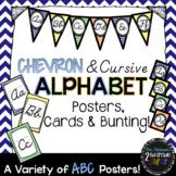 Chevron Cursive Alphabet Posters, Cards & Bunting (D'Nealian)