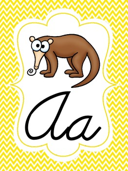 Chevron Cursive Alphabet Set