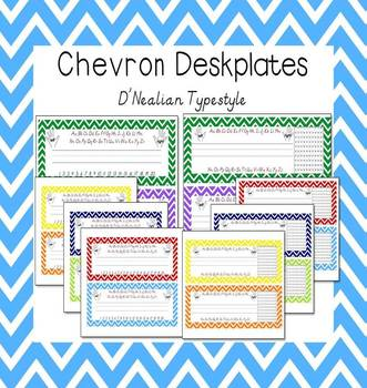 Chevron D'Nealian Typestyle Deskplate Set