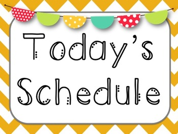 Chevron Daily Schedule Posters and Cards- 6 Editable Cards