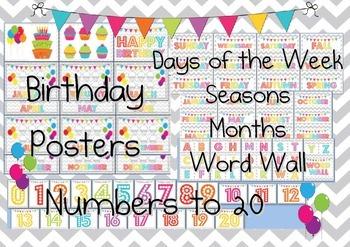 Chevron Decorations Birthday Chart, Numbers, Months, Seaso