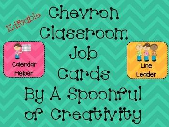 Chevron Design Classroom Job Cards Editable