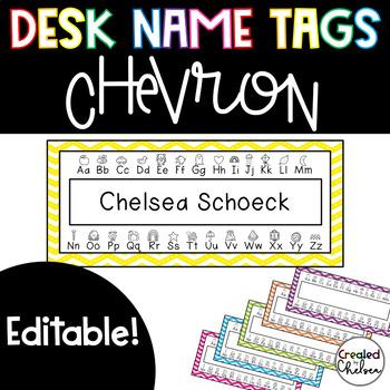 Chevron Desk Nametags {EDITABLE!}
