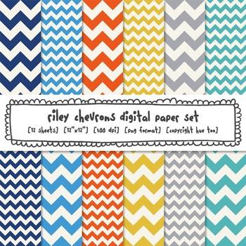 Chevron Digital Paper Backgrounds, Orange, Yellow, Blue, G