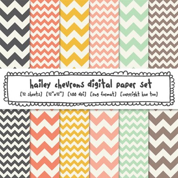 Chevron Digital Paper Backgrounds, Pink, Mustard Yellow, A