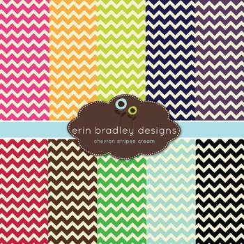 Chevron Digital Paper Pack - Chevron and Cream Patterns