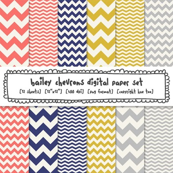 Chevron Digital Paper, Pink Blue Yellow Gray Digital Backgrounds