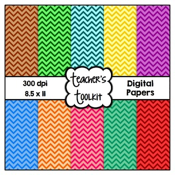 Skinny Chevron Digital Background Papers {8.5 x 11} Clip A