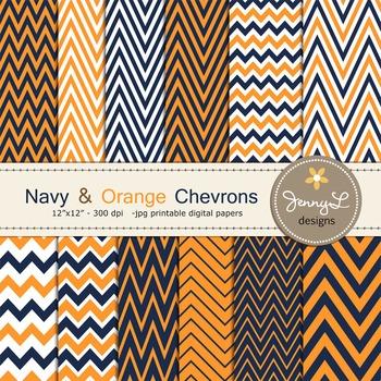 Chevron Digital Papers : Navy and Orange