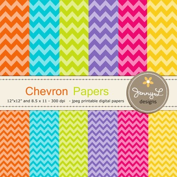 Chevron Digital Papers : in Bright Colors Graphics for tea