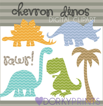 Chevron Dinosaurs Digital Clip Art Images