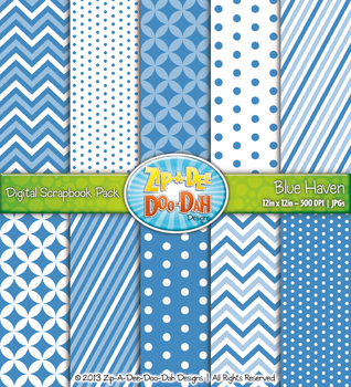 Chevron & Dot Digital Scrapbook Pack — Blue Haven (10 Pages)