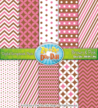 Chevron & Dot Digital Scrapbook Pack — Brown and Pink (10 Pages)
