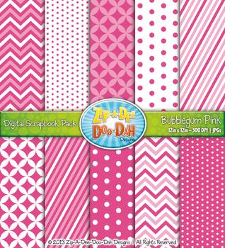Chevron & Dot Digital Scrapbook Pack — Bubblegum Pink (10 Pages)