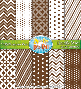 Chevron & Dot Digital Scrapbook Pack — Chocolate Brown (10 Pages)