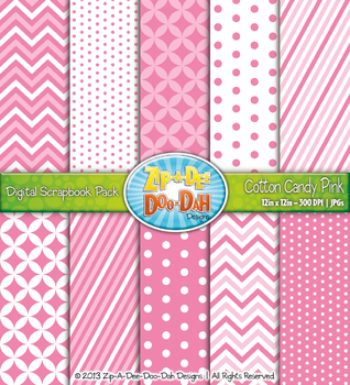 Chevron & Dot Digital Scrapbook Pack — Cotton Candy Pink (