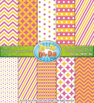 Chevron & Dot Digital Scrapbook Pack — Gold and Soft Pink