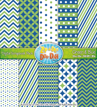Chevron & Dot Digital Scrapbook Pack — Green and Blue (10 Pages)