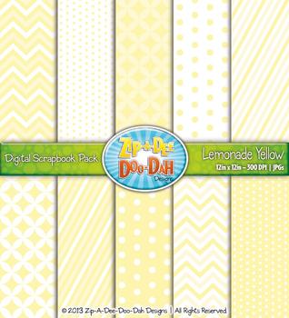 Chevron & Dot Digital Scrapbook Pack — Lemonade Yellow (10 Pages)